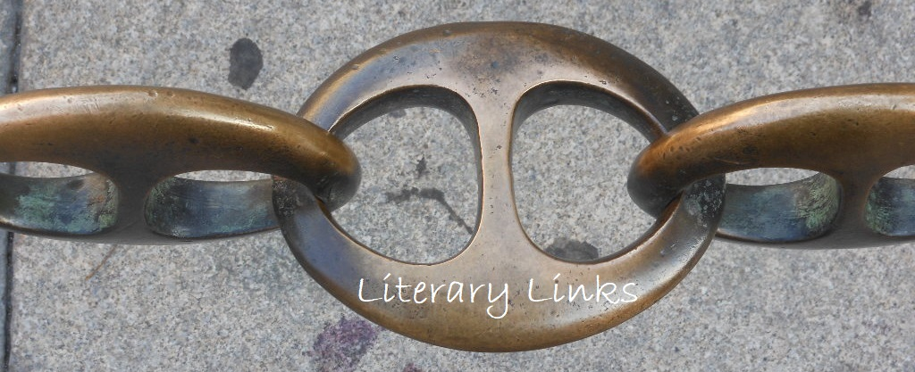 """photograph of stylized metal chain links, with text """"Literary Links"""" superimposed on top."""
