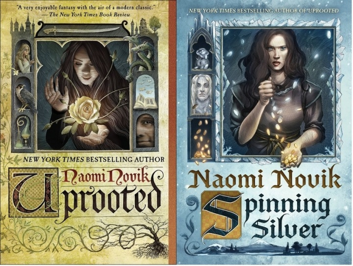 book covers of Uprooted and Spinning Silver both written by Naomi Novik
